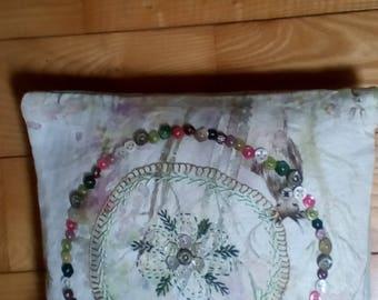 cushion folk art embroidered floral voyage maison button detail