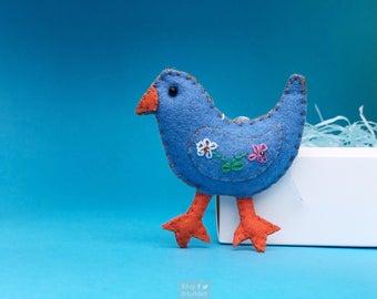 "4"" hand stitched blue chick chicken hanging / felted felt decoration / felt hanging ornament chic felt / easter primitive decor"