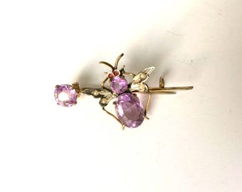 Antique Victorian Gold Silver Ruby Rose de France Amethyst Seed Pearl Bee Pin Brooch