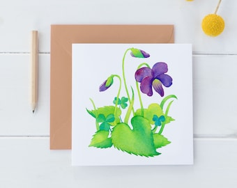 Violet Wild Flower Watercolor Note Card, Floral Note Card, Square 5 x 5 Botanical Stationery