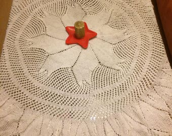 hand-knit tablecloth, round tablecloth knitted on a hoop, doilies