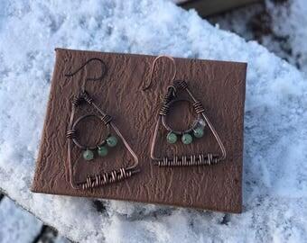 Aztec wire earrings