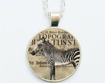 Zebra Pendant Necklace Earrings Ring or Pin Badge Vintage Style Zoological Jewellery Wild Jungle Animals Zebras Jewelry Zoology Gift