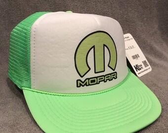 Mopar Trucker Hat Vintage Dodge Lime Green Go Challenger Mesh Snapback Cap! 2155