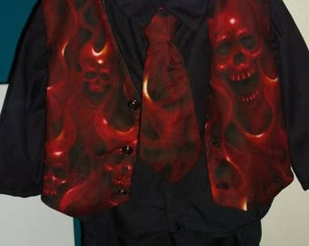 flaming skull toddlers suit