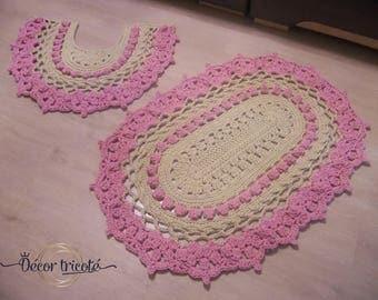 Bathroom rug set Crochet bath mats Small Pink rug Crochet oval rug Oval floor lace rug Doily rug Hypoallergenic rug Textured rug Сrochet rug