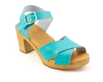 Strap Leather Shoes Leather Sandal Handmade Clogs Womens Clogs Strap Leather Sandal Sandals Summer spring blue mint  sandals, Swedish clogs