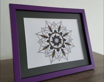 Framed Black & Gold Spiral Mandala