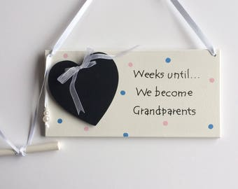 Pregnancy reveal to grandparents . Countdown to becoming grandma and grandad . Chalkboard countdown sign