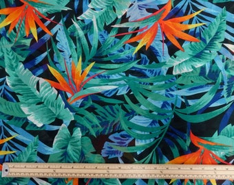 Tropical Bird of Paradise KF8291 100% Polyester Georgette Lightweight Dressmaking Fabric