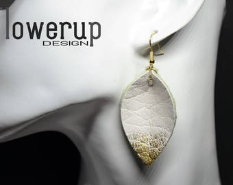 Handmade teardrop white gold lightweight real leather statement earrings