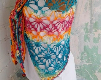 Boho crochet shawl Gypsy shawl Crochet shawl Lace crochet shawl Beach shawl Rainbow crochet shawl  Boho shawl Bohemian shawl Triangle shawl