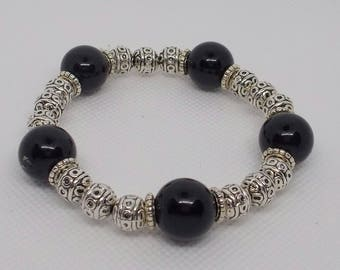 Silver & Black Bead Stretch Bracelet