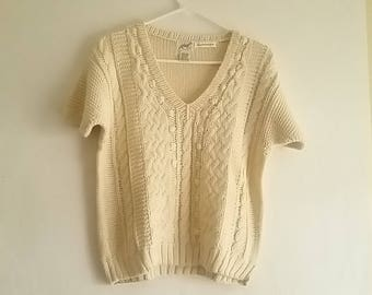Vintage Koret Sweater Medium Hand Knit Chunky Cream White Short Sleeve V Neck  1980's