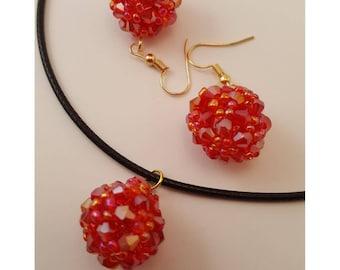 set sparkling  earrings necklace red gentle beatiful shine vivid color boucles d'oreilles collier rouge