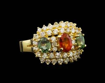 Multi Sapphire and Diamond Ring