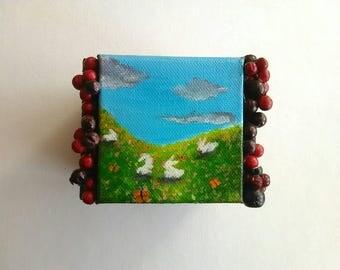 Cube Mini Art | Canvas Art | Occult Art | Seasons | Mini Art | Tiny Art | Original Art | Decor | Modern Art |  Gift | Wicca Art | Painting