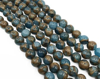 Blue Mosaic Stone Beads, Smooth Round Gemstone Beads, Jewelry Making, 6mm 8mm 10mm 15.5 inch Strand