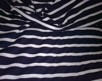 tissu jersey viscose  à cotes marin bleu blanc vente au metre