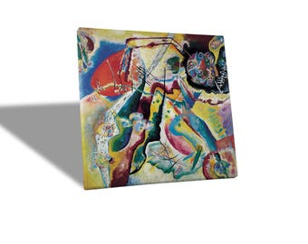 Yellow BUS-Quadro-Canvas print canvas-KANDINSKY-picture with red stain
