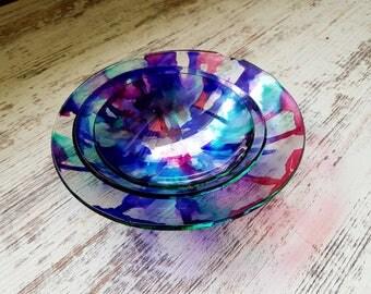 Tempered glass bowl set of three