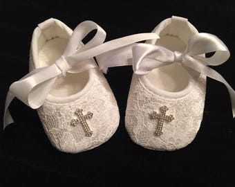 White Lace Baby Christening Shoes - Baby Girl Baptism Shoes - White Lace Baby Shoes - Baby Girl Dedication Shoes