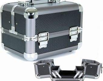 Aluminum Makeup Train Case with Polka Dot Lining