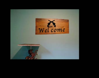 Welcome sign, cowgirl welcome sign, barn decor, custom wall decor, pistol welcome sign, gun sign, rustic welcome sign, country welcome sign