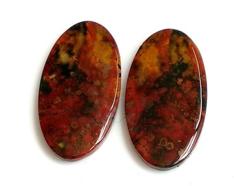Blood Stone Oval, Pair Cabochon,Size- 27x14,MM,Natural Blood Stone, AAA,Quality  Loose Gemstone, Smooth Cabochons.