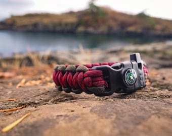 paracord Survival Bracelet   (brown and Red Camo)