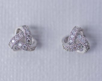 Pave Knot Earrings - Silver, CZ Earrings, Cubic Zirconia Bridal Earrings, Dainty Stud Earrings, Wedding Accessories, Bridal Jewellery