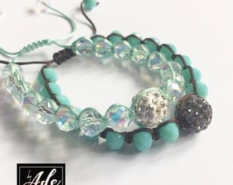 Yarn-Woven Crystal Bracelets