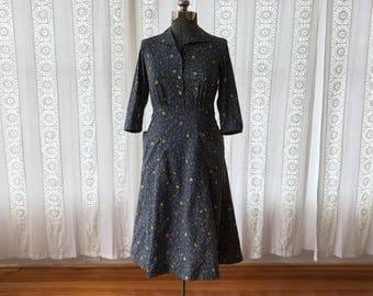 40s floral shirtwaist dress  // Handmade floral cotton midi dress