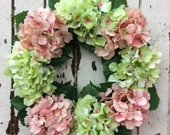 Soft and Subtle Wreath with Light Green and Coral Hydrangeas - Ready to Ship