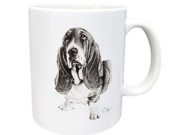 Cup Basset coffee mug in white ceramic with black print