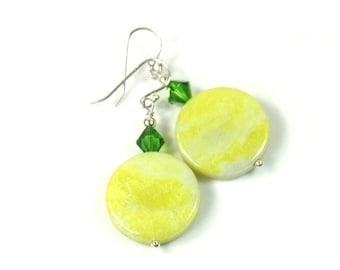 Green stone earrings, Gemstone earrings, Sparkly earrings, Dangle earrings, Crystal earrings, Gift for her, Long earrings
