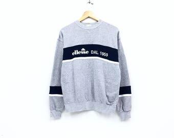 Rare!!Vintage Ellesse Perugia Italia Sweatshirt Full logo Biglogo Spellout Pullover Jumper sweatshirt Tennis Hiphop