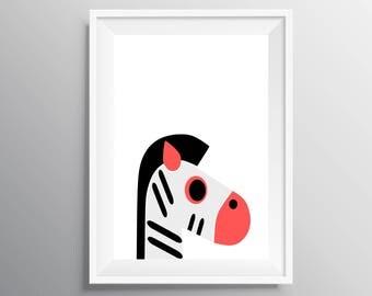 Zebra Nursery Print, Zebra wall art, Digital Download, Animal Nursery Wall Art, Kids Art, Nursery Art Print, Nursery Decor, Kids Print