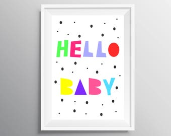 Printable nursery wall art, Printable nursey decor, Nursery wall art, Nursery posters, Instant download, babyshower print, hello baby print