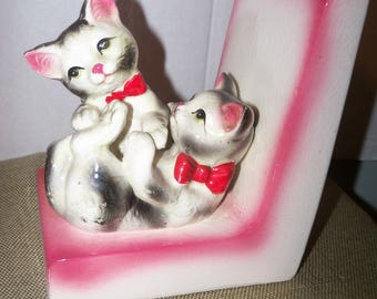 vintage japan kitty cats bookend pink ceramic playing kittens feline figural animals