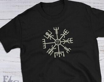 Vegvísir the Viking Rune Compass | Pagan Clothing Short Sleeve Unisex Tee Shirt | Great Gifts For Viking gifts, Pagan Gifts, Norse Gifts