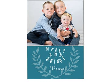 Teal and white modern photography christmas card greeting template digital 5x7