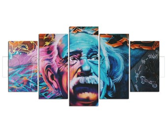 Albert Einstein Graffiti Street Art Canvas Print Gift 5 Panels