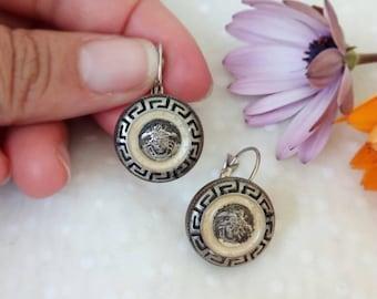 Buttons earrings vintage, ethnic earrings, buttons earrings, wife gift, gift for her, native American earrings, bohemian jewelry,
