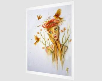 L'amoureuse au nid d'oiseaux - Art Print
