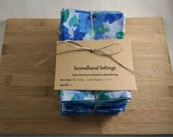 Cloth Napkins - Blue Violets, Reclaimed Fabric, Vintage Linen, Farmhouse Napkin, Cottage Kitchen, Table Linen, Lunchbox Napkin, Handmade