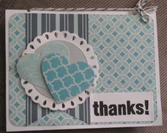 Sale -Blue Heart Thank You Card