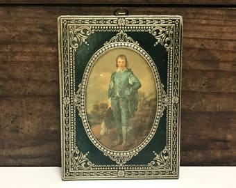 Vintage Italian Florentine Plaque of Renaissance Young Man, Green Background with Ornate Detailing, Wood Plaque, Vintage Wall Plaque
