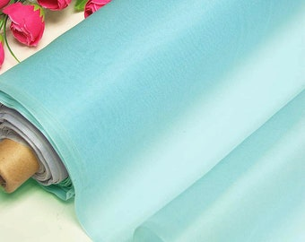 Topaz blue 100% Real Silk Organza Fabric Natural Silk Material for Wedding Bridal Dress (yza-11012 Yards /Meter or samples)