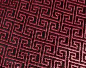 """36"""" wide Chinese brocade shiny wine maze on dark brown satin fabric faux silk material embroidered by the 0.5 YARD, Yards Meters BR 636"""